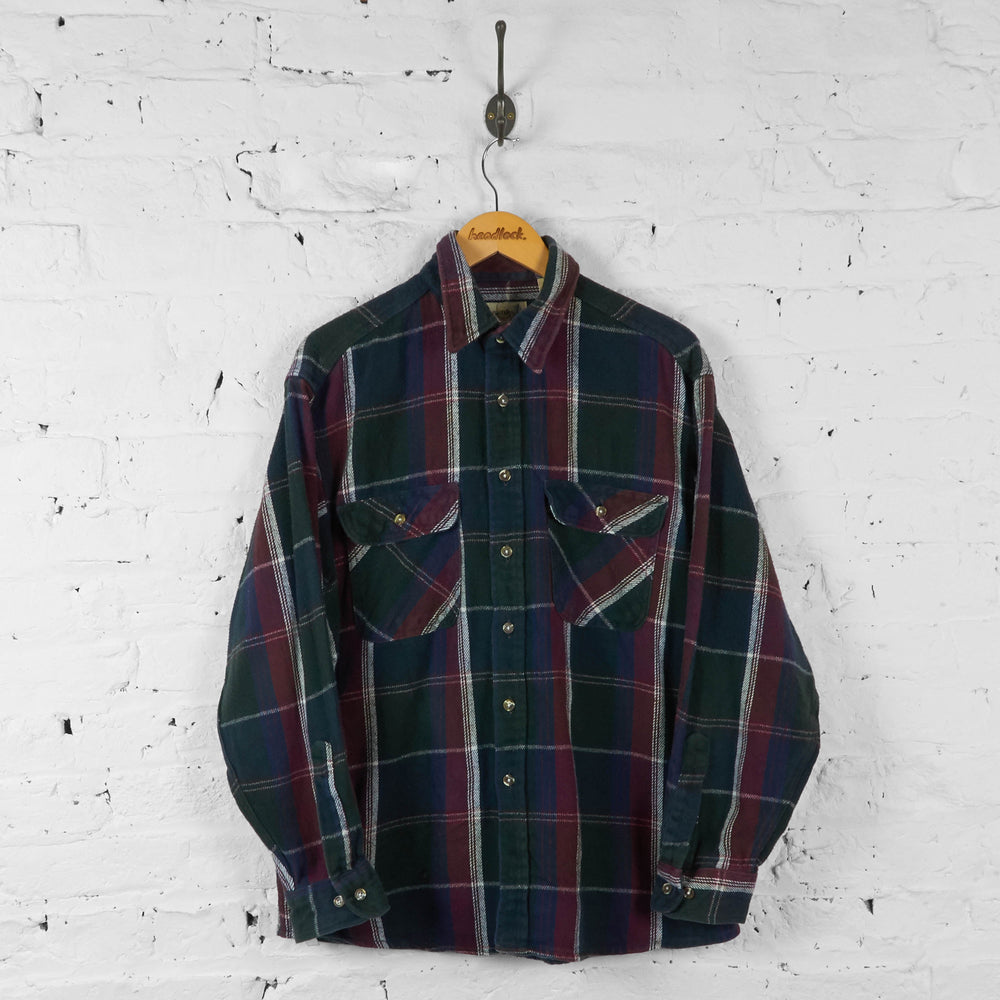 Flannel Plaid Check Shirt - Green - L - Headlock