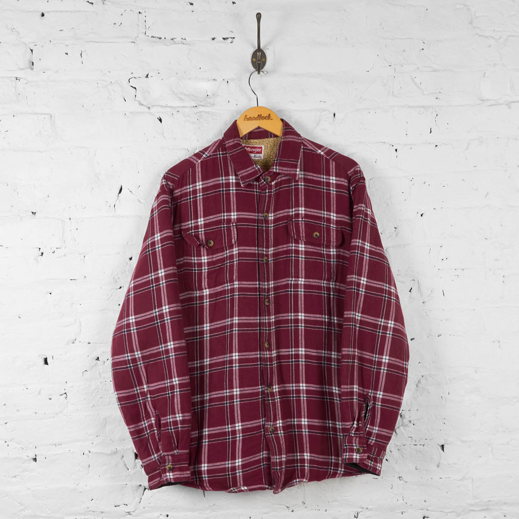 Fleece Lined Wranger Over Shirt - Red - L - Headlock