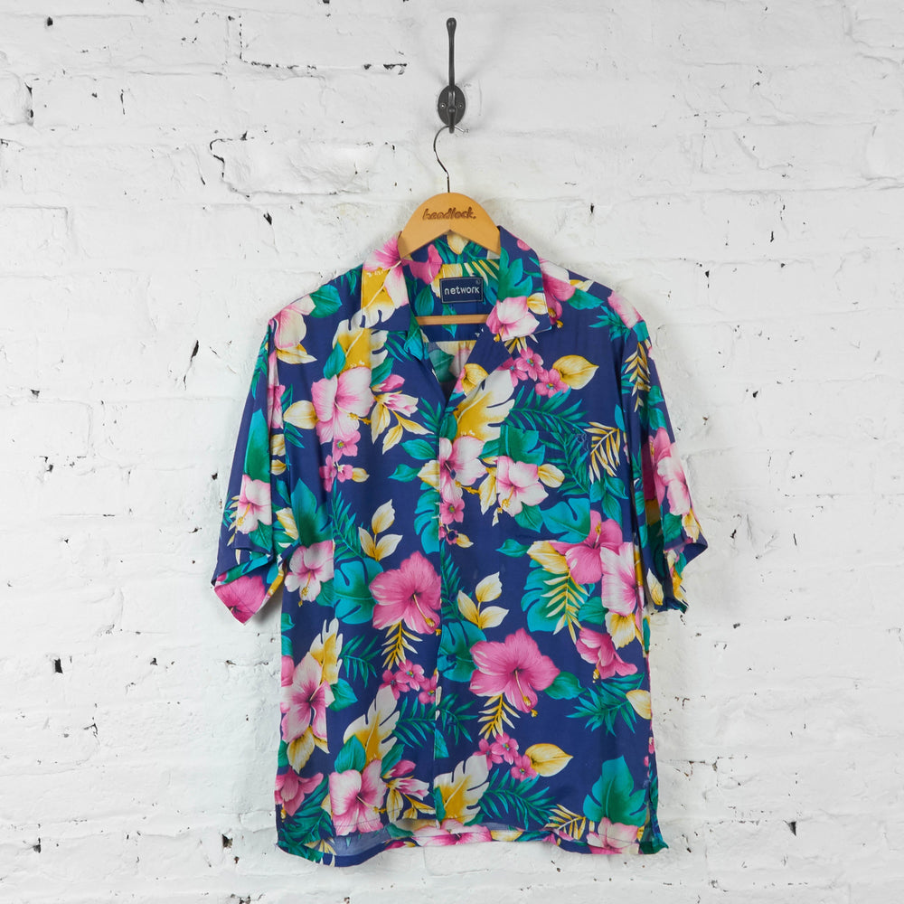 Floral Hawaiian Print Shirt - Blue - L - Headlock