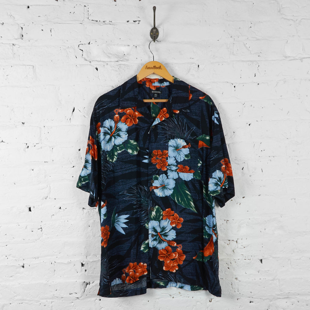 Floral Hawaiian Shirt - Blue - L - Headlock