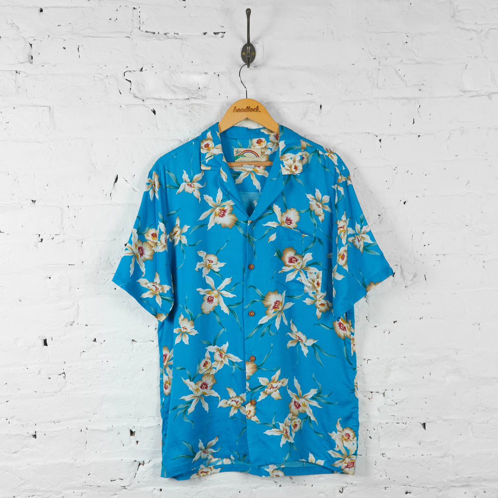 Floral Pattern Hawaiian Shirt - Blue - L - Headlock