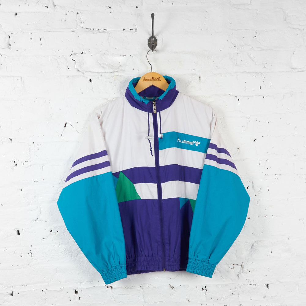 Hummel Shell Patterned Tracksuit Top Jacket - Purple/White - XS - Headlock