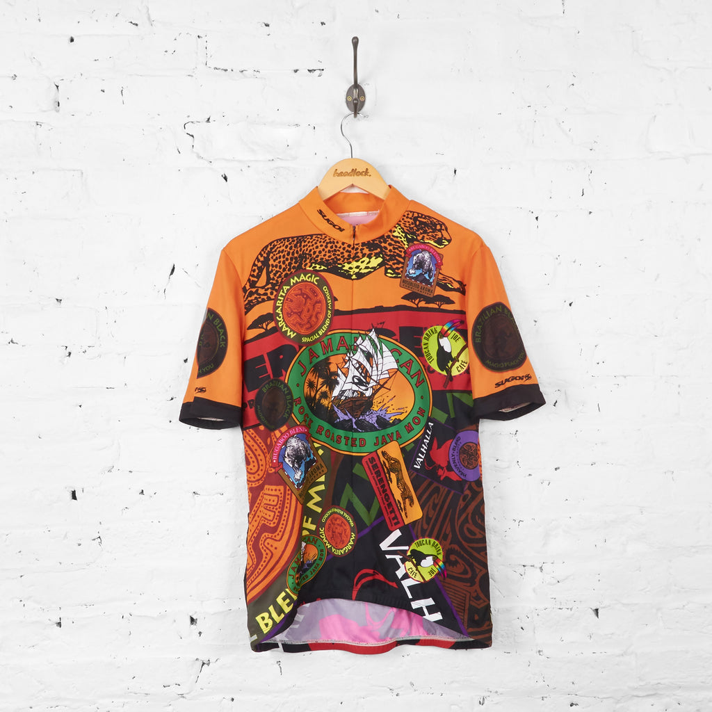 Jamaica Can Patterned Drinks Badges Cycling Jersey - Orange - L - Headlock
