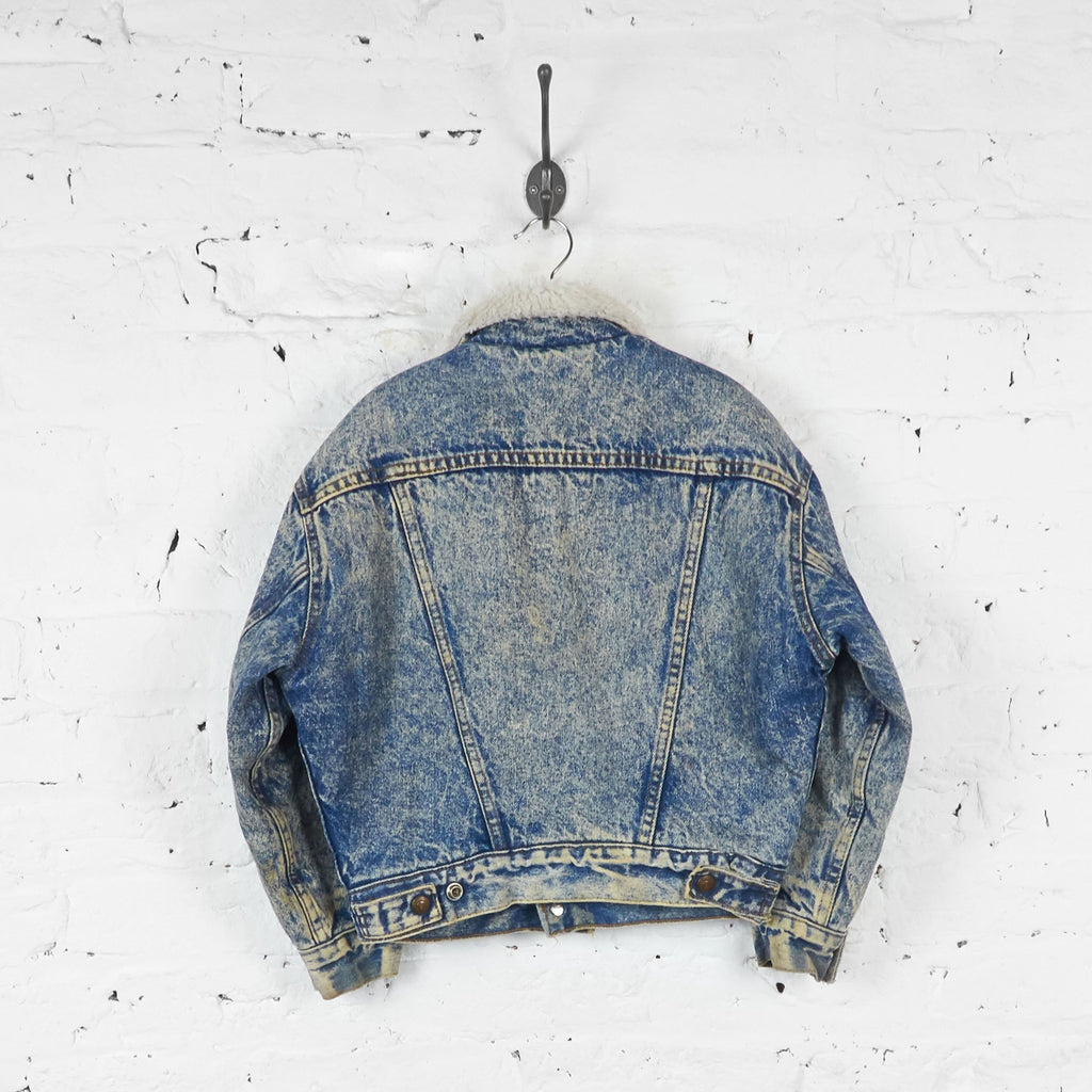 Kids Levis Acid Wash Fleece Lined Denim Jacket - Blue - S Boys - Headlock