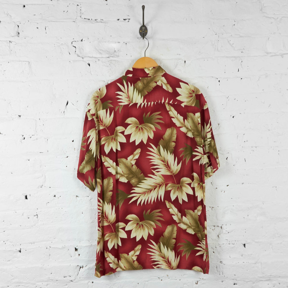 Leaves Print Hawaiian Shirt - Red - M - Headlock