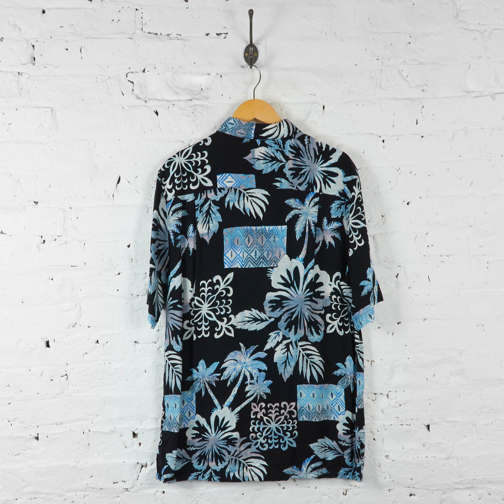 Leaves Print Hawaiian Summer Shirt - Black - M - Headlock