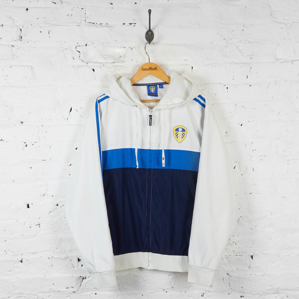 Leeds United Hooded Jacket - White/Blue - L - Headlock