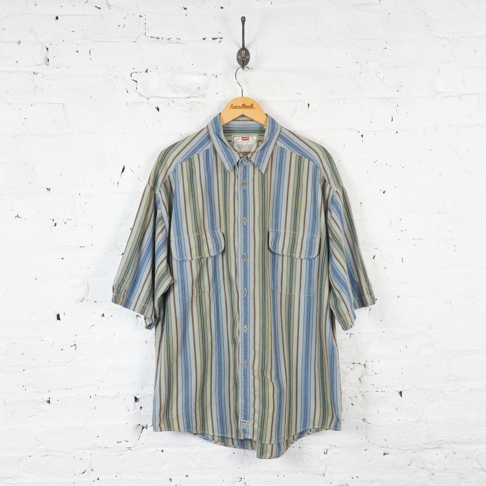 Levis Striped Short Sleeve Shirt - Green - XL - Headlock