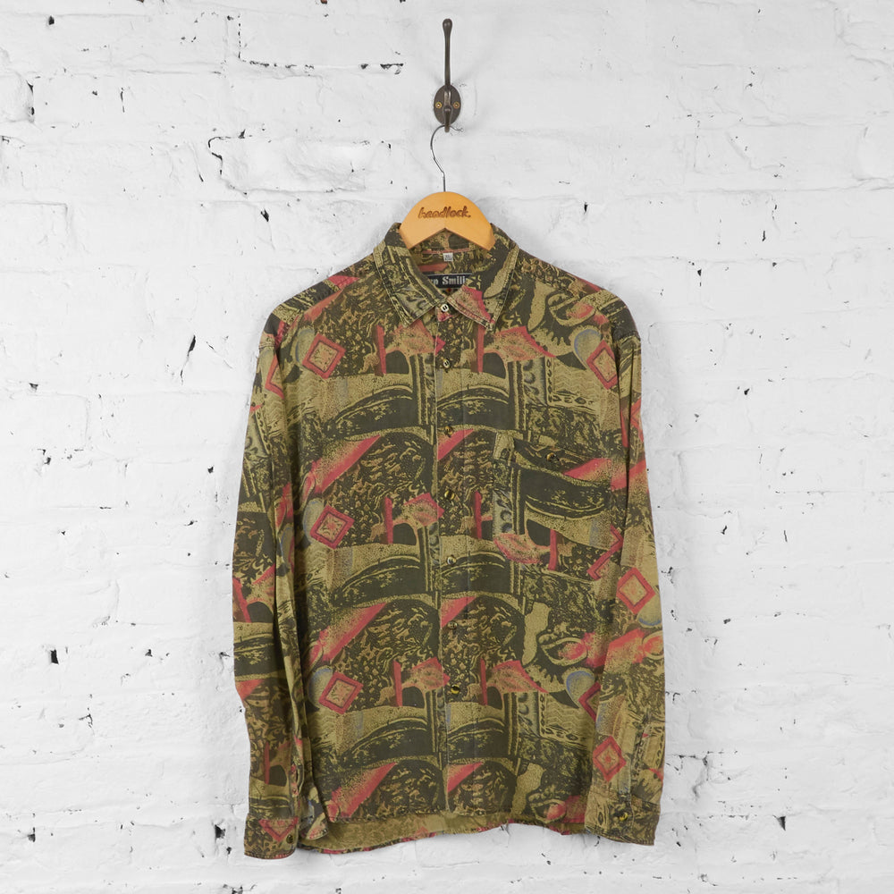 Long Sleeve 90s Pattern Shirt - Beige - XL - Headlock