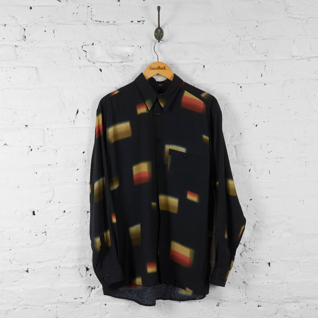Long Sleeve Abstract Pattern Shirt - Black - L - Headlock