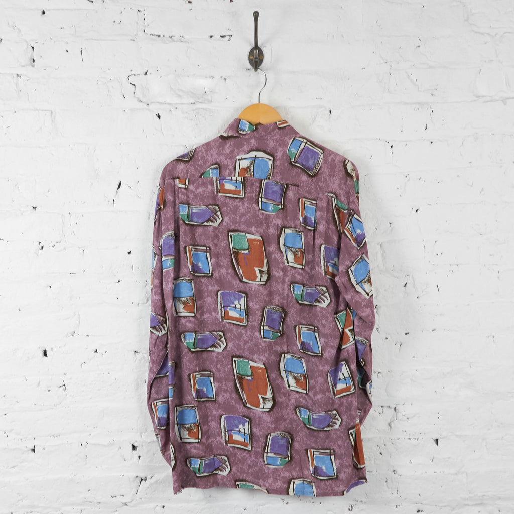 Long Sleeve Patterned 90s Shirt - Purple - L - Headlock