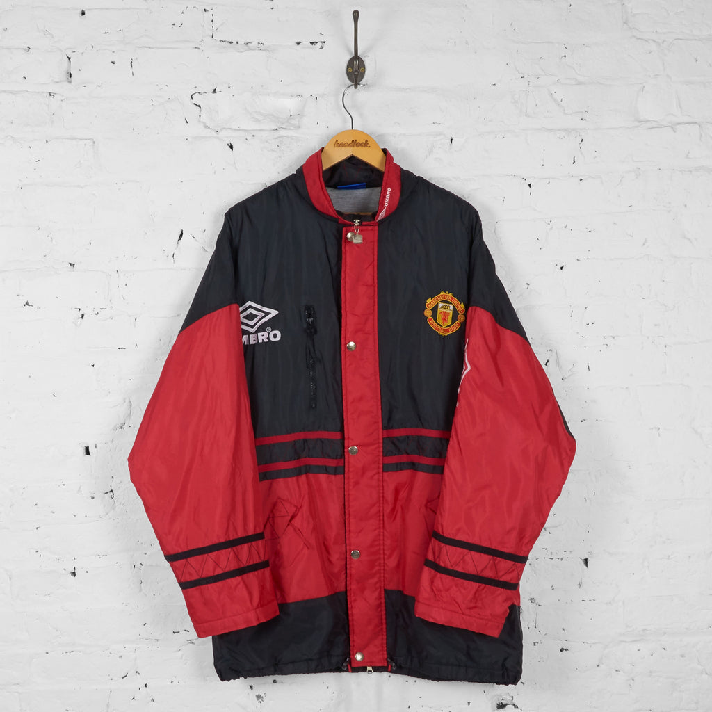 Manchester United 90s Umbro Managers Coach Jacket Coat  - Black/Red - L - Headlock