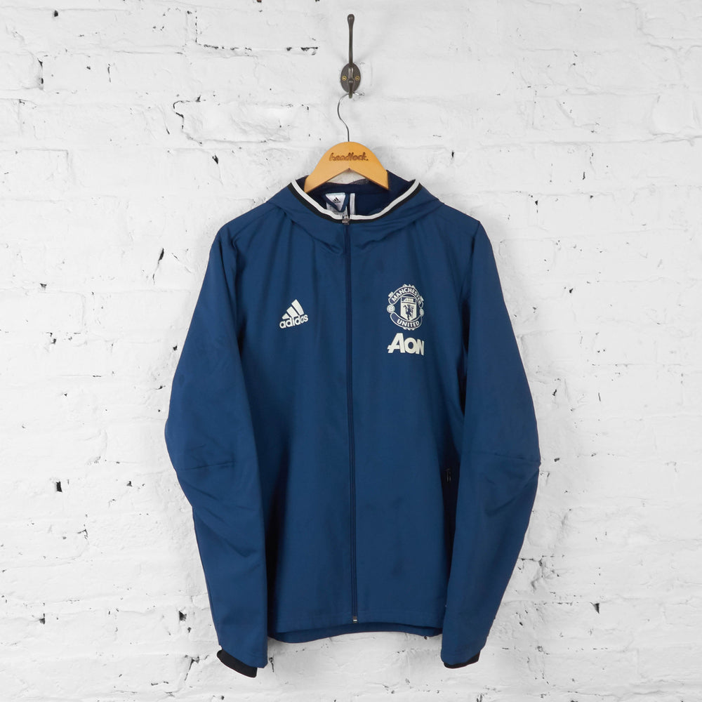 Manchester United Adidas AON Hooded Tracksuit Top Jacket - Blue - M - Headlock