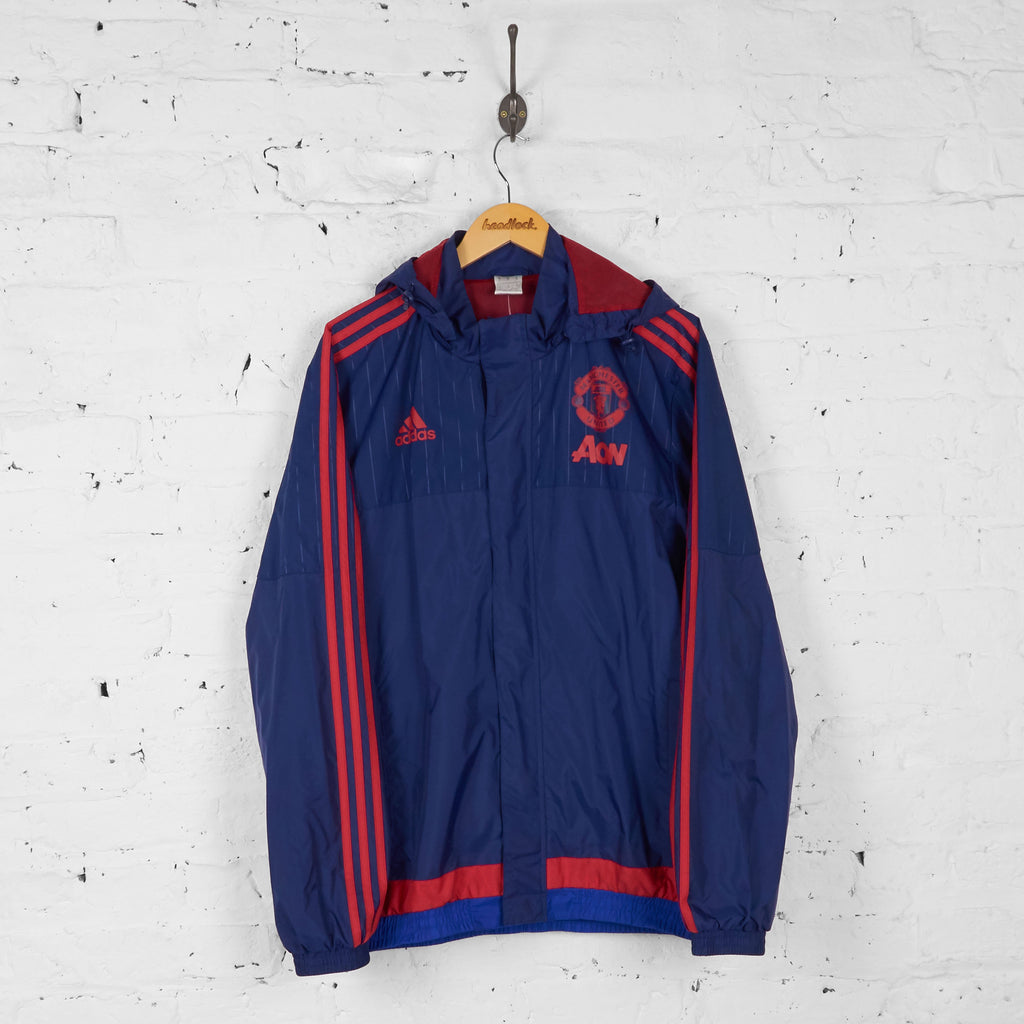 Manchester United Adidas Rain Tracksuit Top Jacket - Blue - M - Headlock