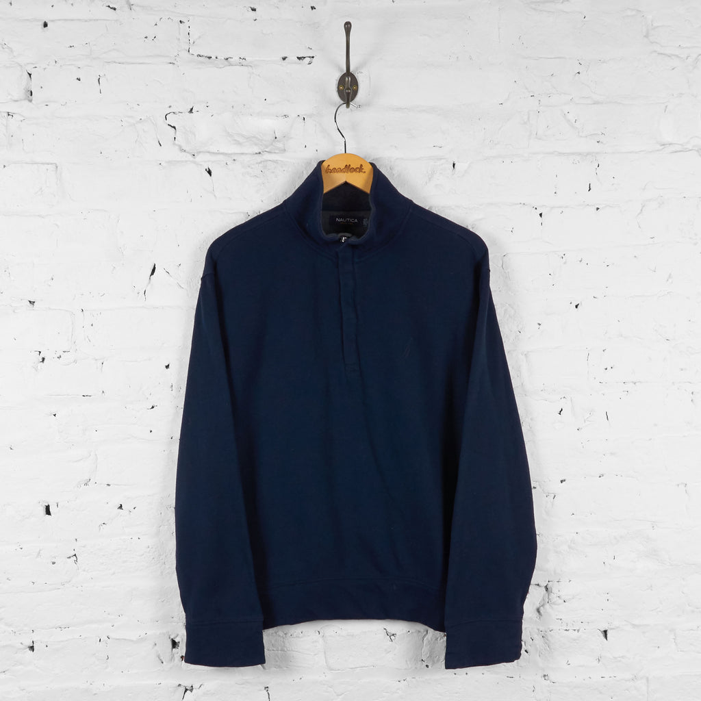 Nautica 1/4 Zip Sweatshirt - Blue - M - Headlock