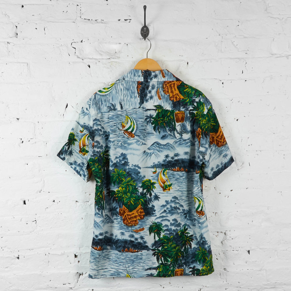 Palm Trees Hawaiian Print Summer Shirt - Blue - L - Headlock
