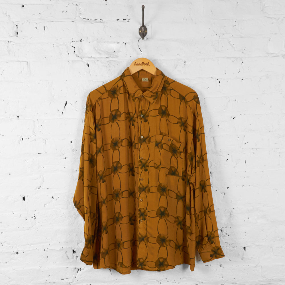 Patterned Long Sleeve Shirt - Gold - XL - Headlock