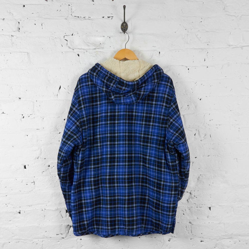 Plaid Check Hooded Over Shirt - Blue - XL - Headlock