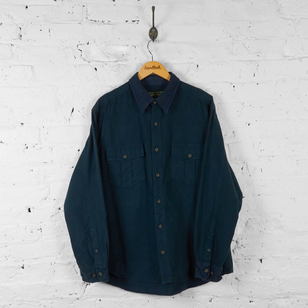 Plain Flannel Shirt - Blue - XL - Headlock
