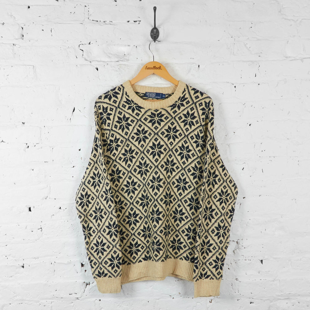 Ralph Lauren Snowflake Knit Jumper - Cream  - XL - Headlock