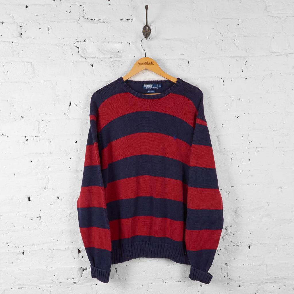 Ralph Lauren Striped Knit Jumper - Red - XL