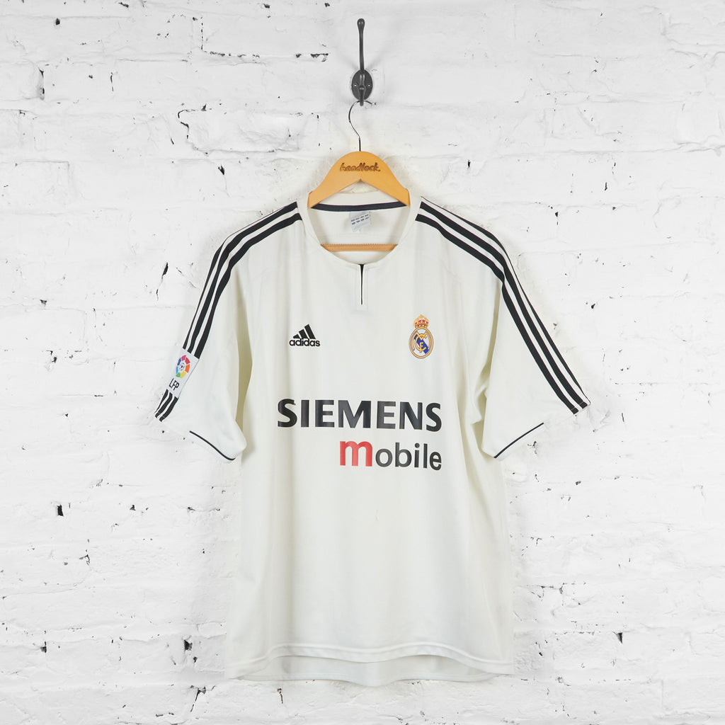 Real Madrid Adidas 2003 Home Football Shirt - White - L - Headlock