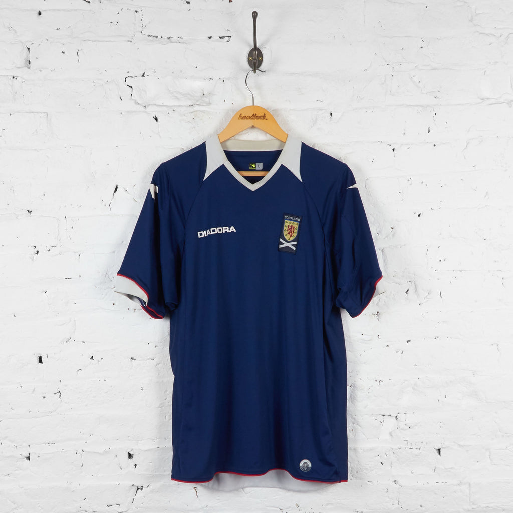 Scotland 2008 Diadora Home Football Shirt - Blue - L - Headlock