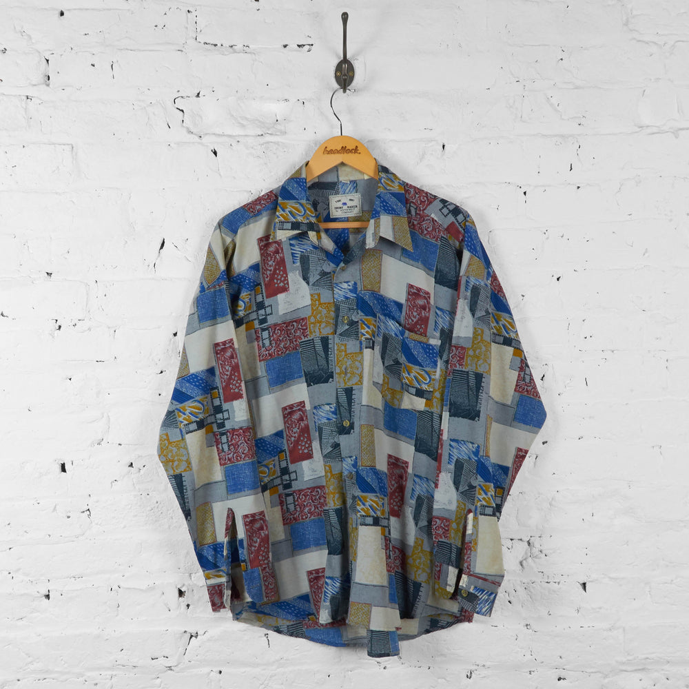 Squares Pattern 90s Long Sleeve Shirt - Blue - L - Headlock