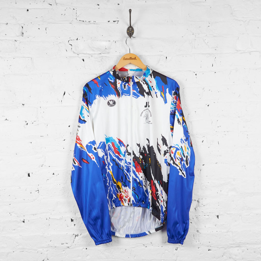 Vermarc Long Sleeve Patterned Cycling Jersey - White/Blue - XXXL - Headlock