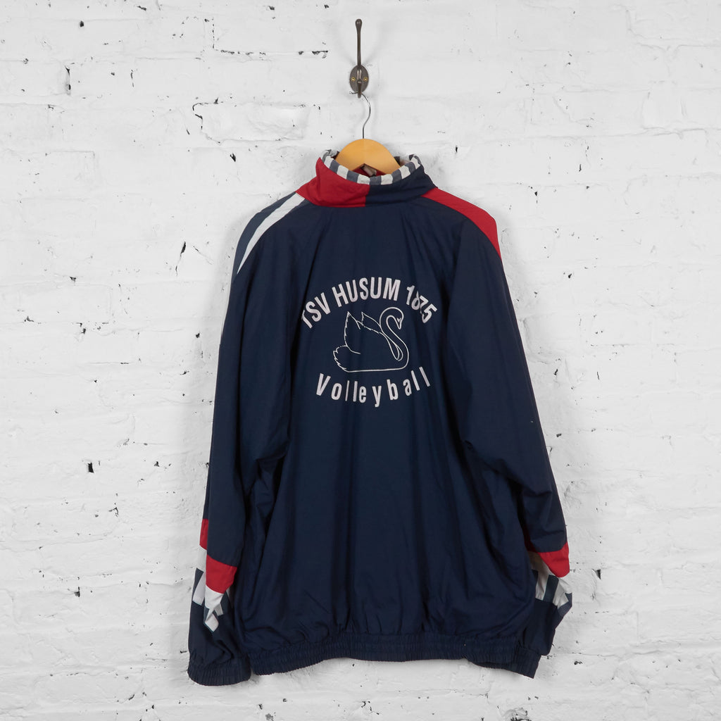 Vintage 1/4 Zip Up Hummel Windbreaker Jacket - Navy/Red - XXL - Headlock