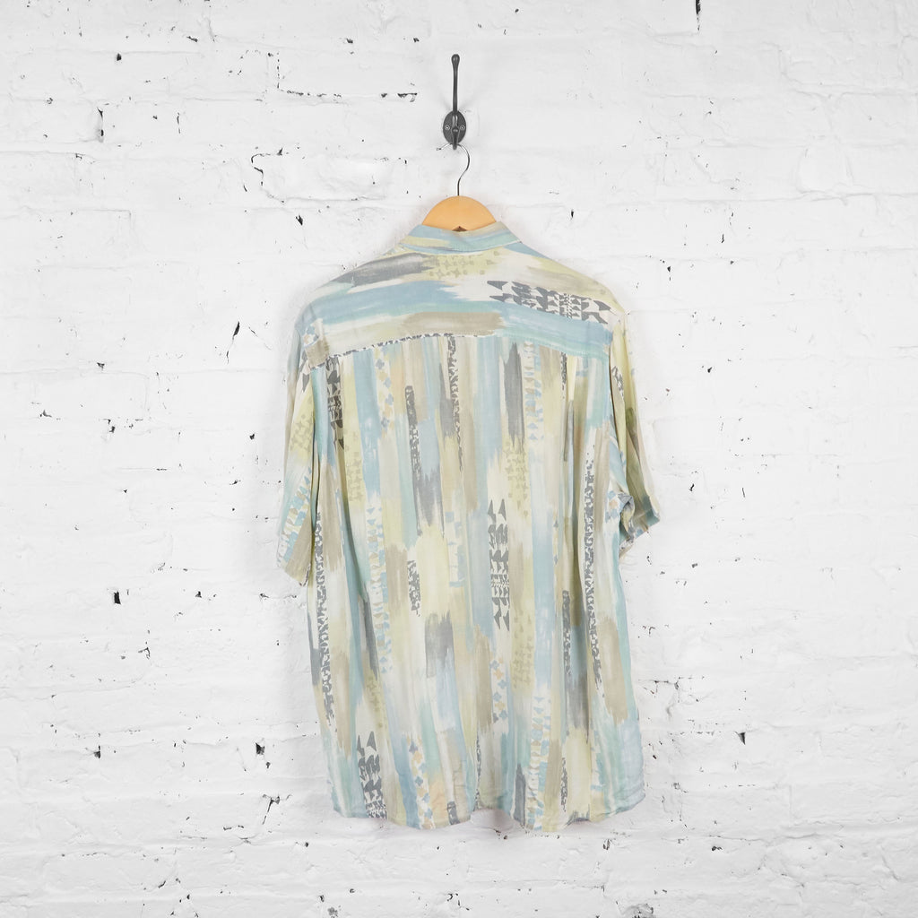 Vintage Abstract Painterly Patterned Shirt - Blue/Grey - L - Headlock