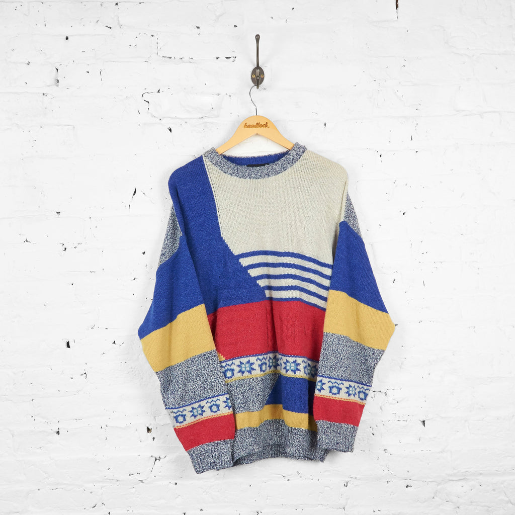 Vintage Abstract Pattern Enzo Lorenzo Jumper - Blue/Red/Yellow - XL - Headlock
