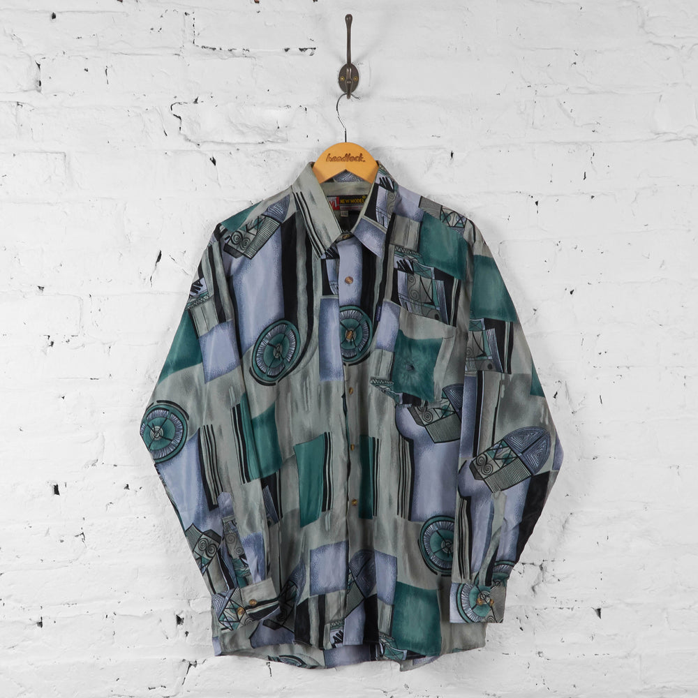Vintage Abstract Pattern Shirt - Grey/Blue - XL - Headlock