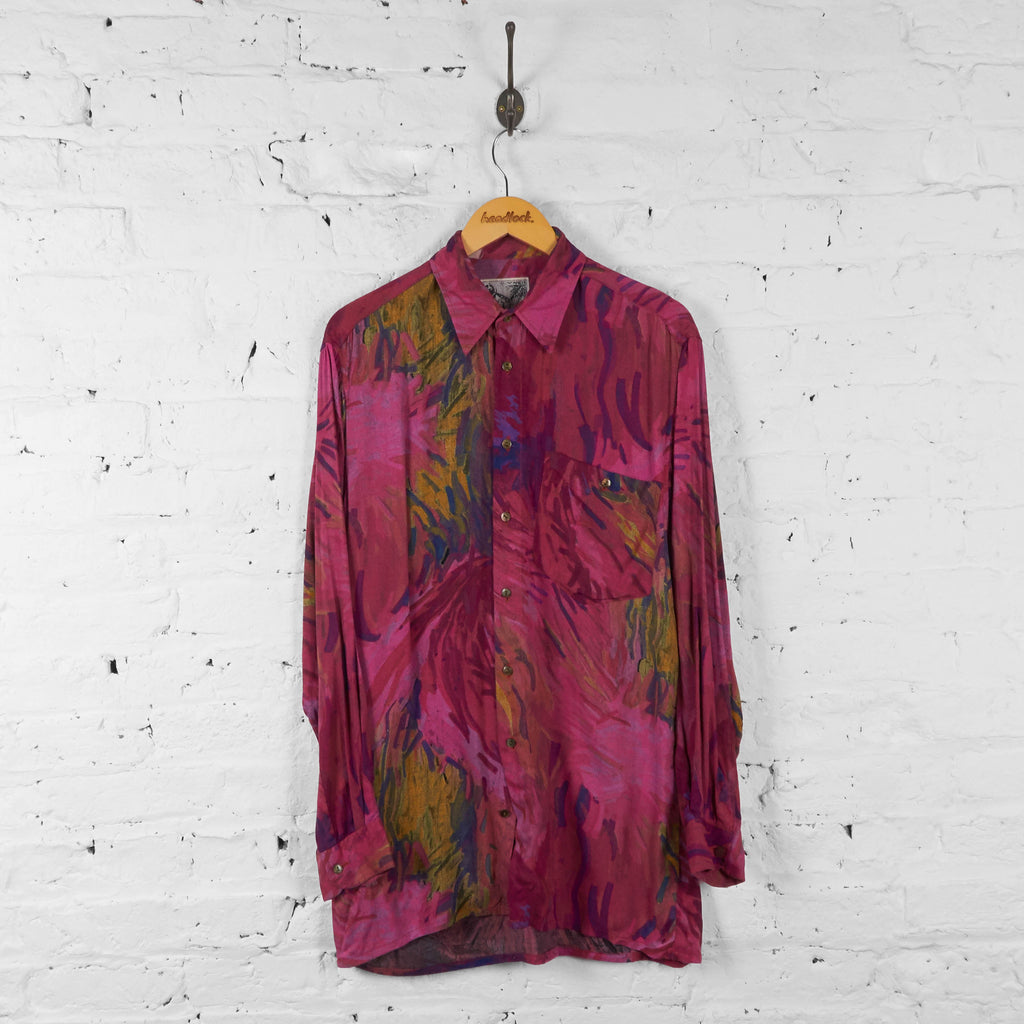 Vintage Abstract Pattern Shirt - Pink - L - Headlock