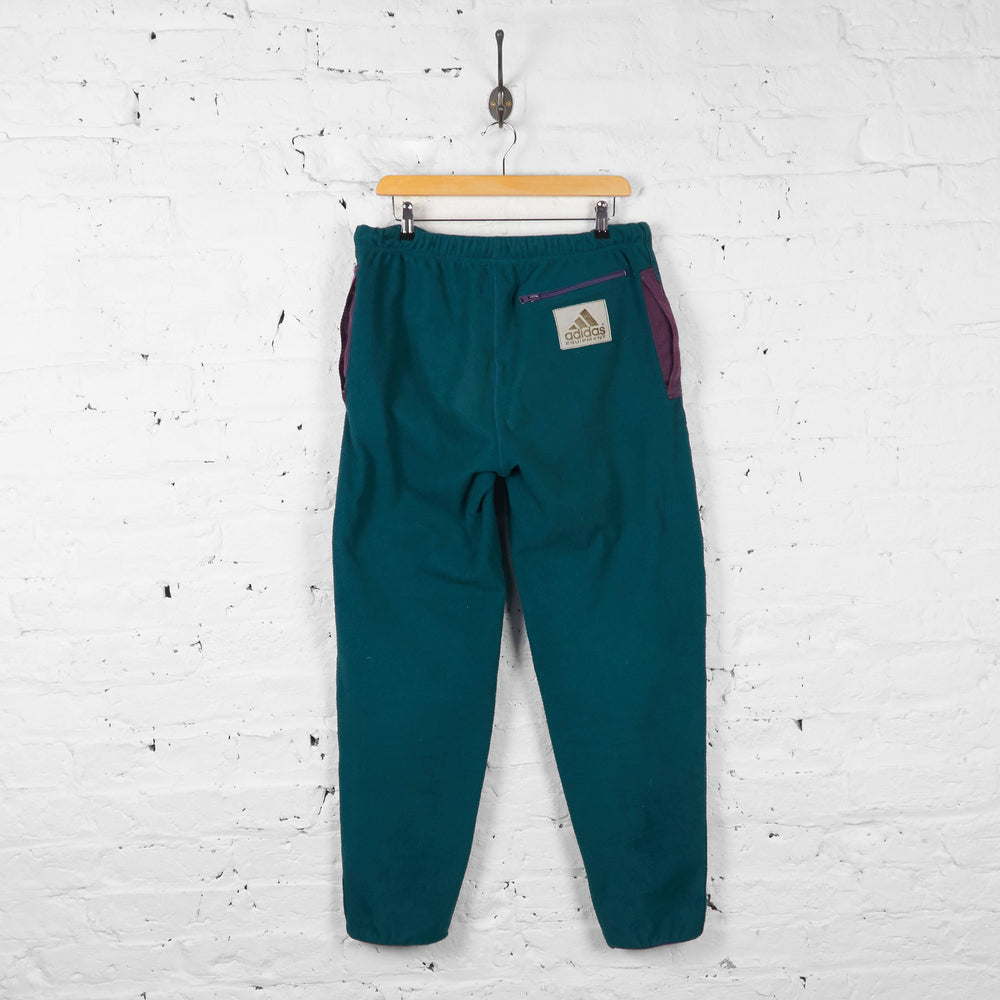 Vintage Adidas Fleeced Tracksuit Bottoms - Green - M - Headlock
