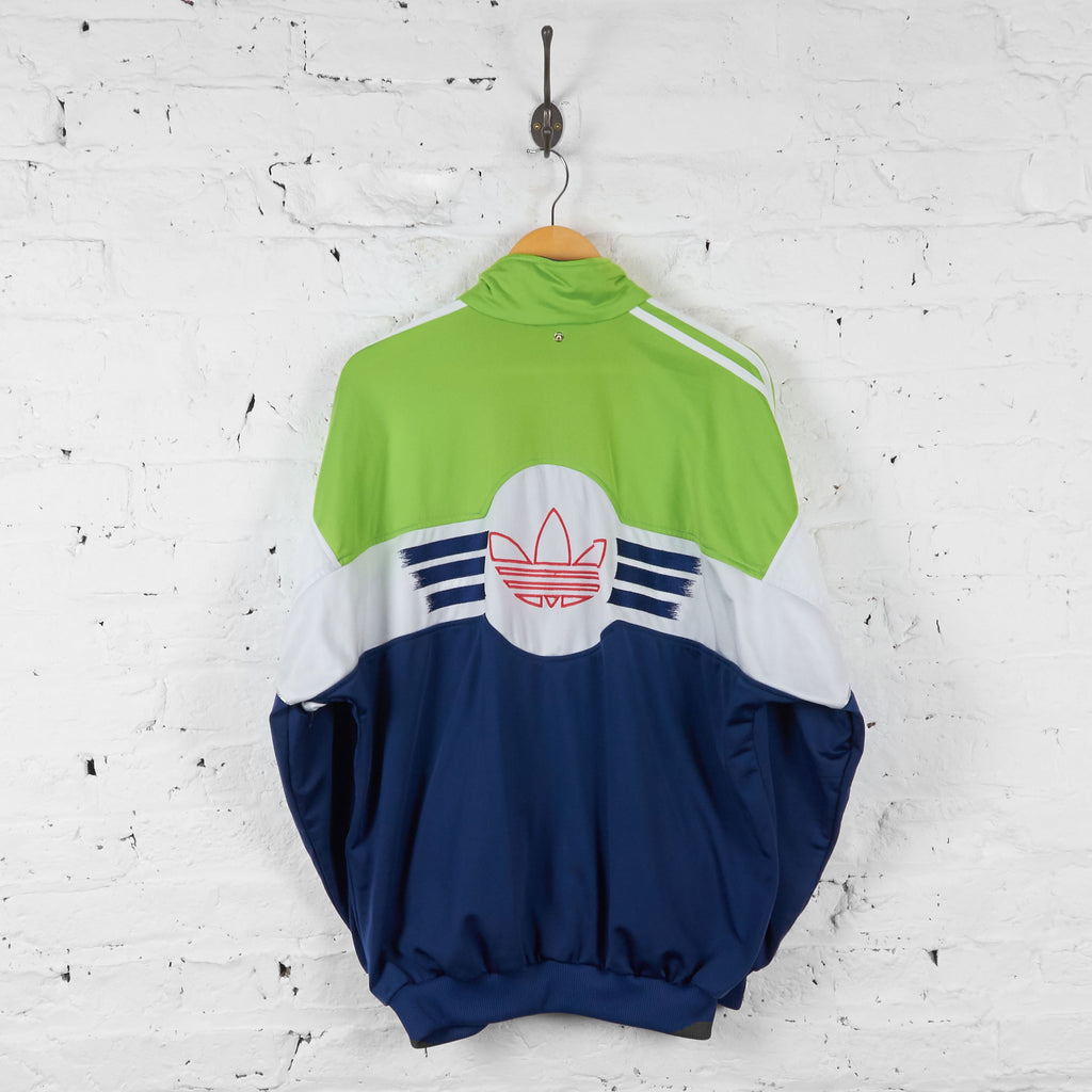 Vintage Adidas Neon Tracksuit Top - Green/White/Navy - M - Headlock