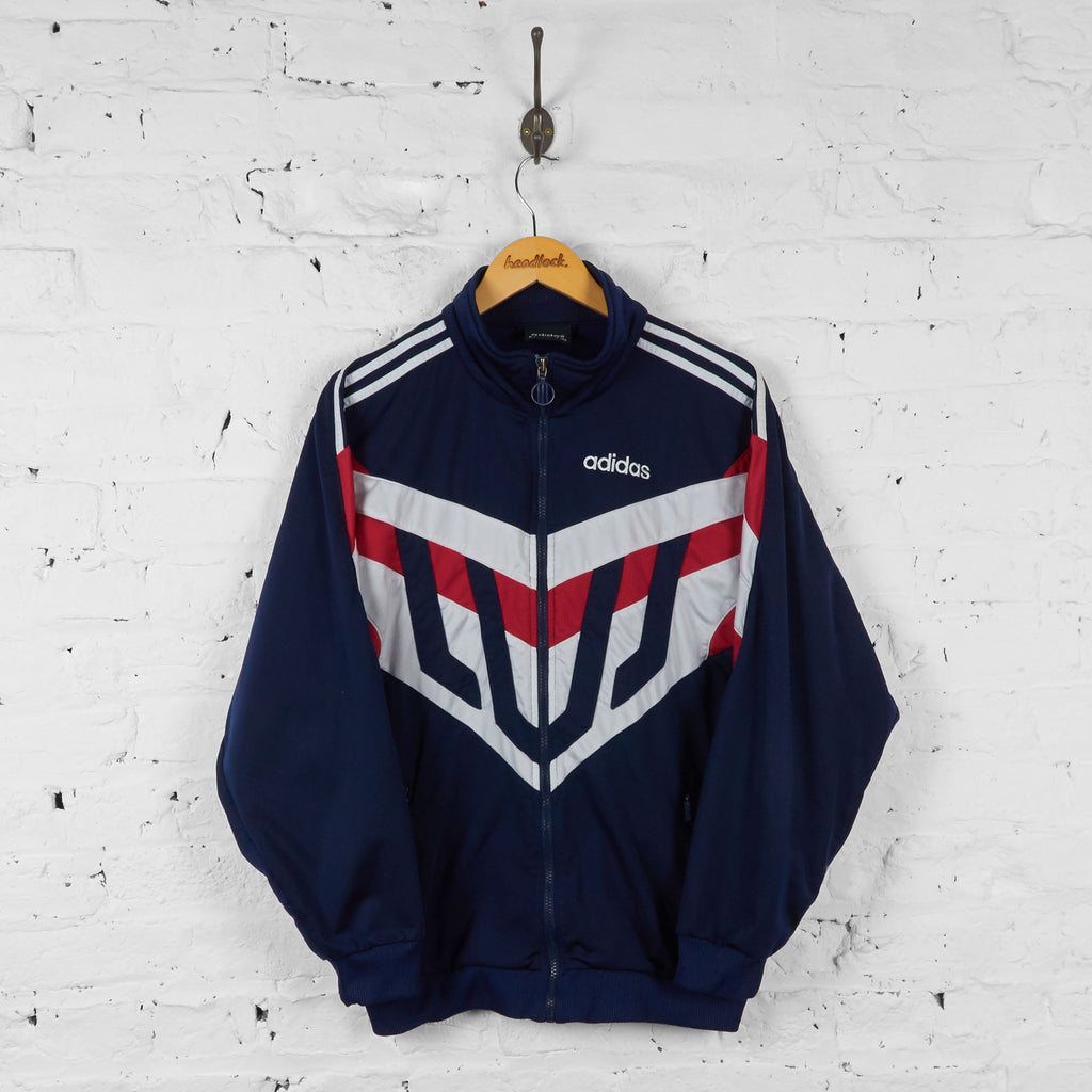 Vintage Adidas Patterned Tracksuit Top - Navy/Red - M - Headlock