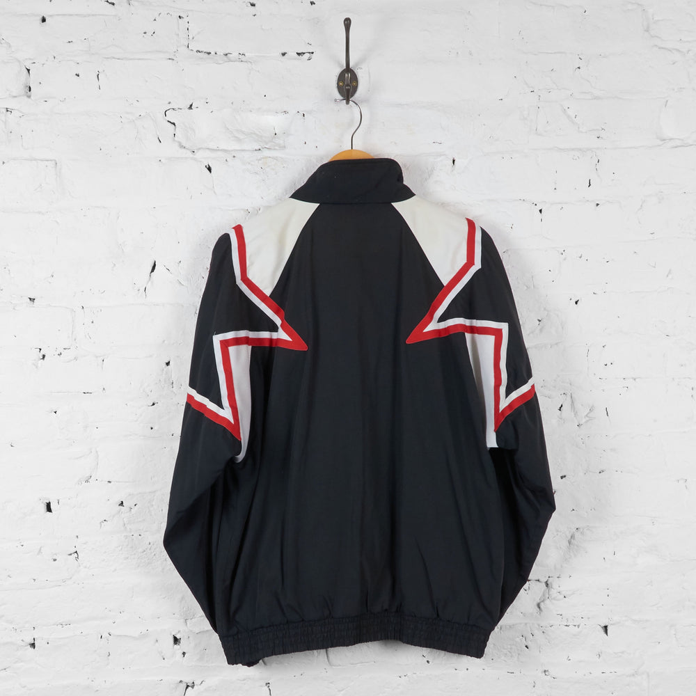 Vintage Adidas Star Tracksuit Top - Black/Red/White - M - Headlock