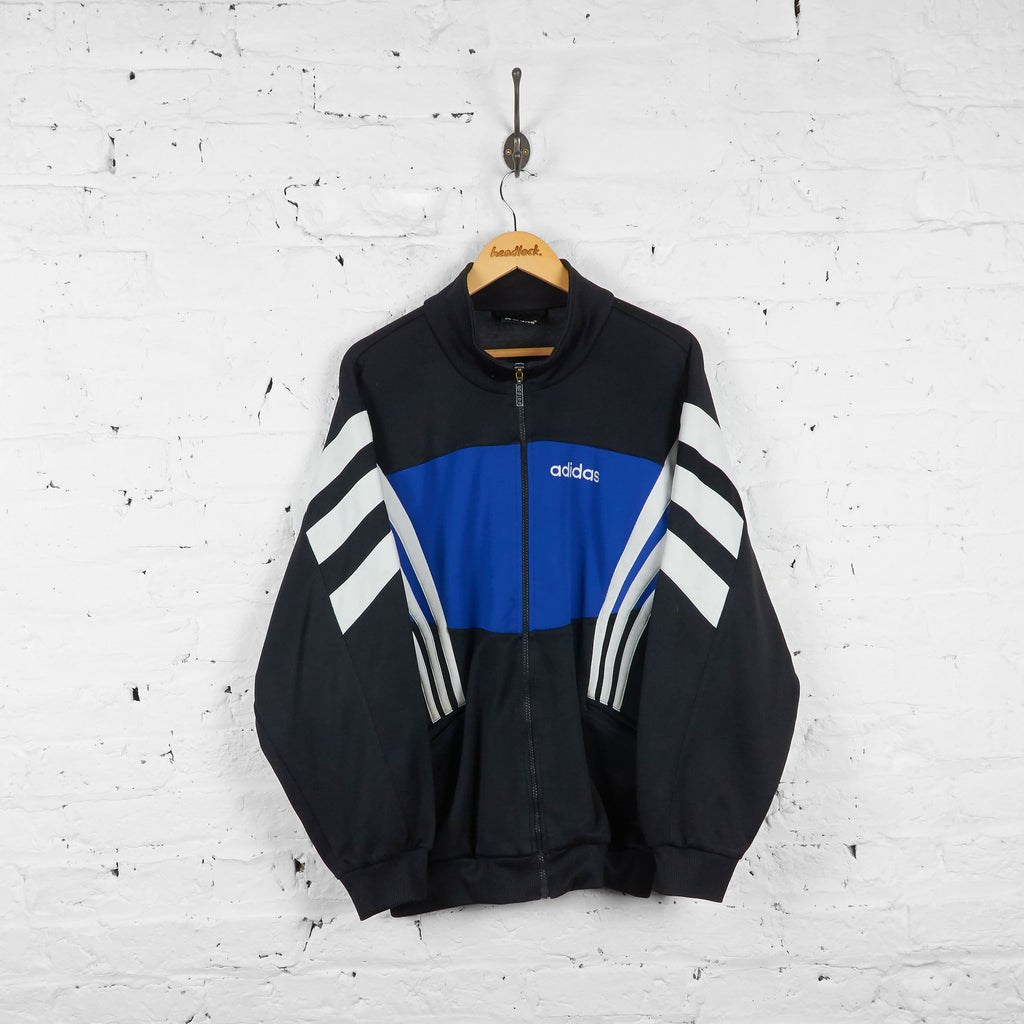 Vintage Adidas Tracksuit Top - Black/Blue/White - L - Headlock