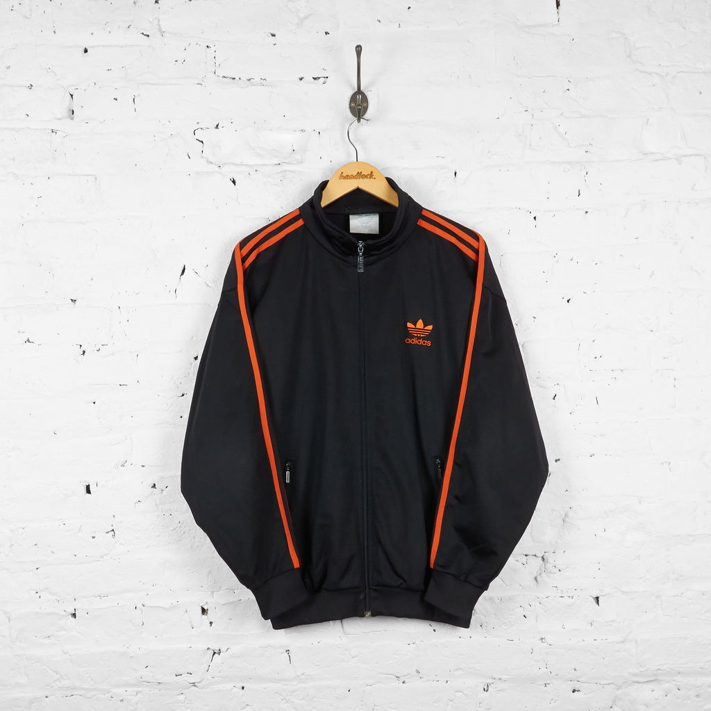 Vintage Adidas Tracksuit Top - Black/Orange - M - Headlock