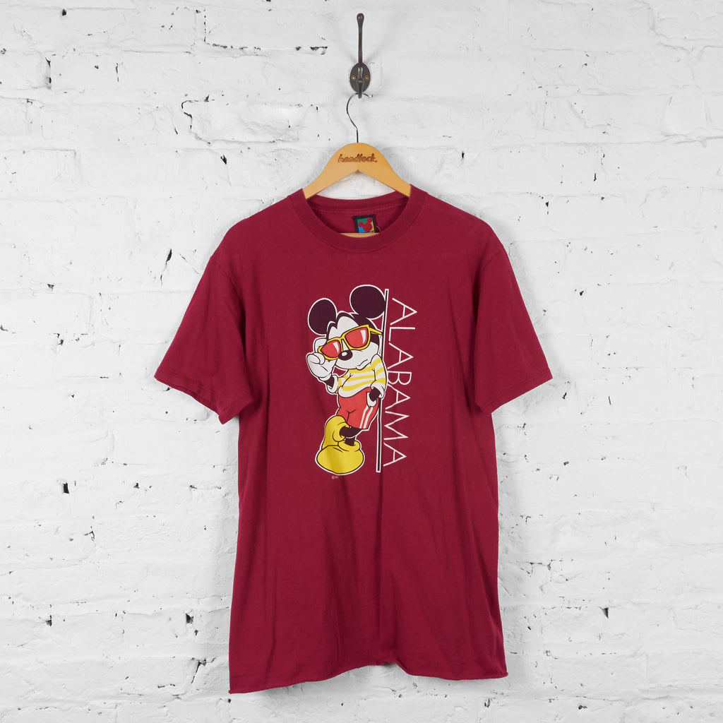 Vintage Alabama Mickey Mouse T-shirt - Red - L - Headlock
