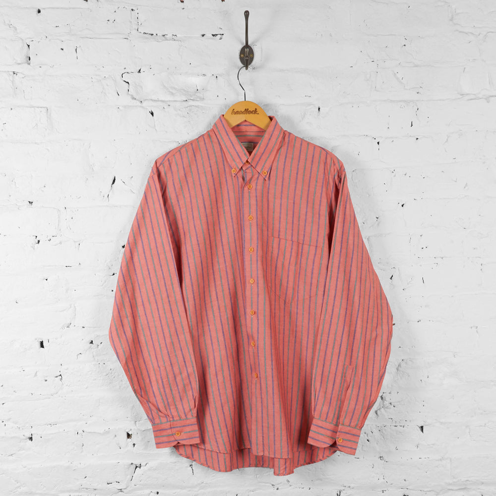 Vintage Benetton Striped Pattern Shirt - Red - M - Headlock