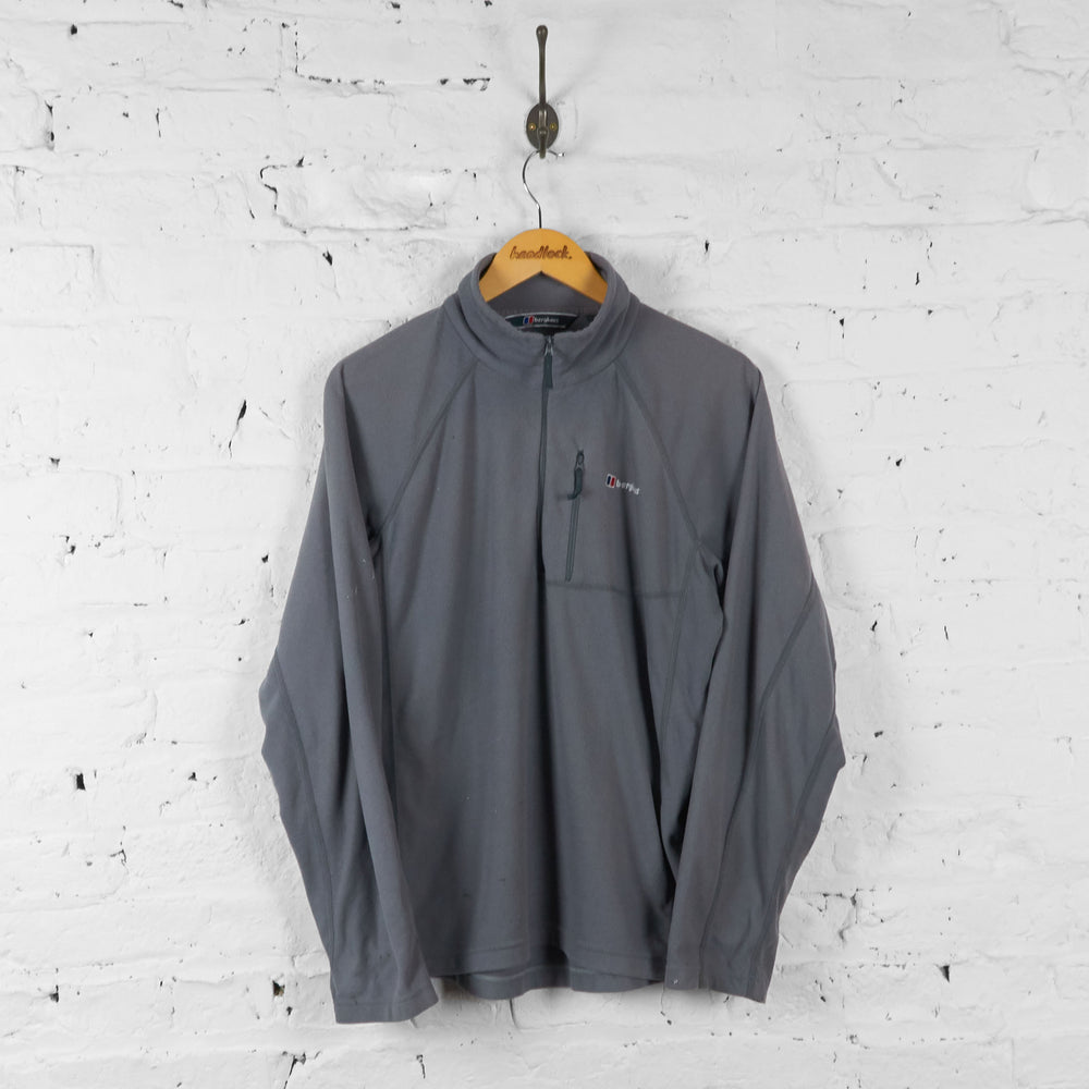 Vintage Berghaus 1/4 Zip Fleece - Grey - L - Headlock