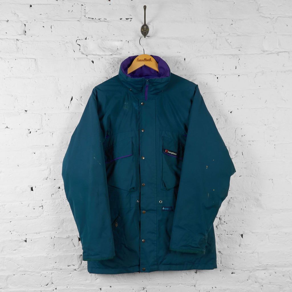 Vintage Berghaus Aqua Foil Hooded Jacket - Green/Purple - L - Headlock