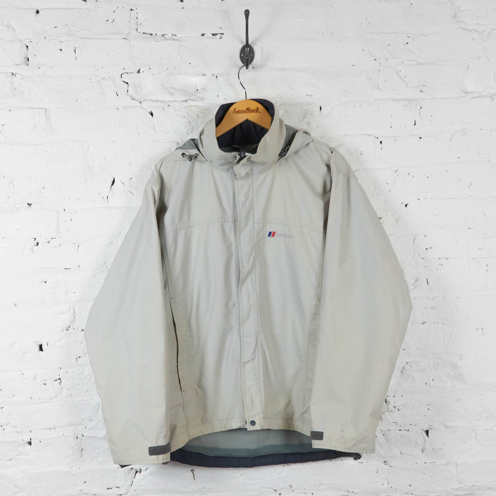 Vintage Berghaus Hooded Outdoor Jacket - White/Grey - M - Headlock