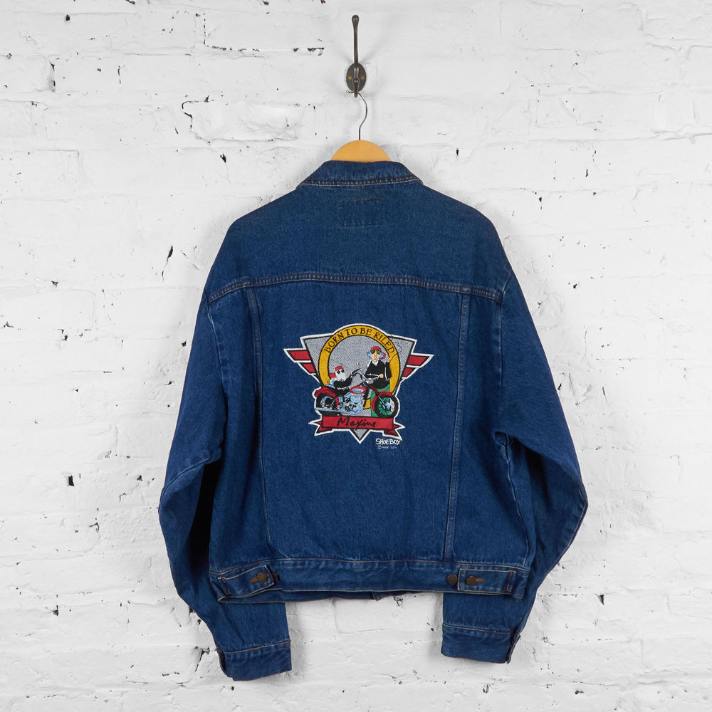 Vintage Born To Be Riled Denim Jacket - Blue - L - Headlock