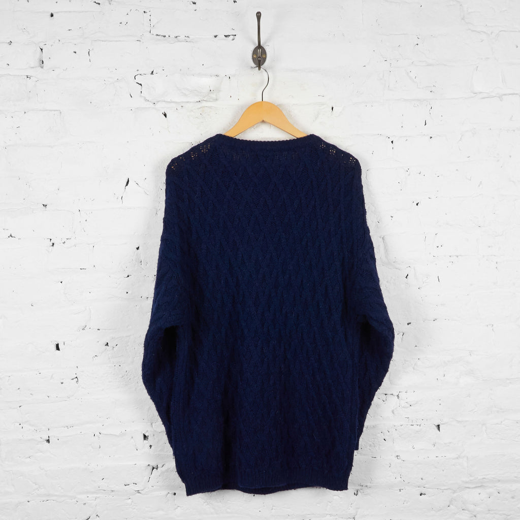 Vintage Cable Knit Benetton Jumper - Navy - L - Headlock
