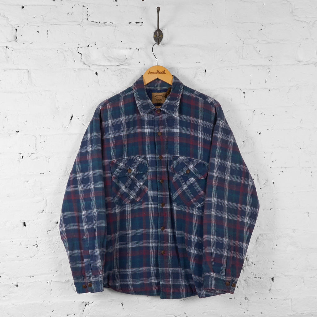 Vintage Checked Pattern Padded Shirt Jacket - Blue - XL - Headlock