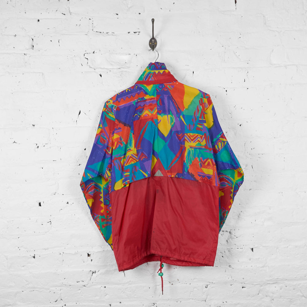 Vintage Patterned K-Way Cagoule Jacket - Red/Yellow/Green - M - Headlock