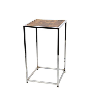 Table Cocktail Chrome - Dessus en Bois